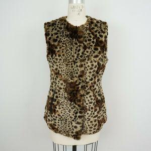 Via Spiga Faux Fur Animal Print Vest Cheetah